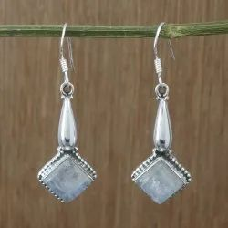 925 Sterling Silver Natural Rainbow Moonstone Wholesale Jewelry Nice Earring WE-1753