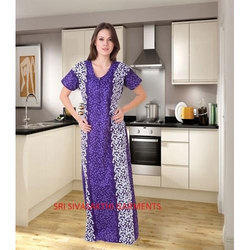 Fast Colour Gurenteed Ladies Cotton Over Locked Nighty(Superior), Size: Free Size