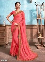 Designer Moss Chiffon Saree  With Border