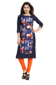 Blue Straight Cut Crepe Kurti
