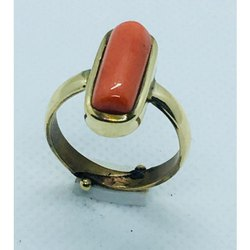 Red Coral Moonga Ring