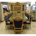 Royal 1 Table, 12 Chair Designer Wooden Carved Dining Table Set, For Home, Hotels