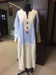 Lace Kaftan in Yarn Dyed Fabric