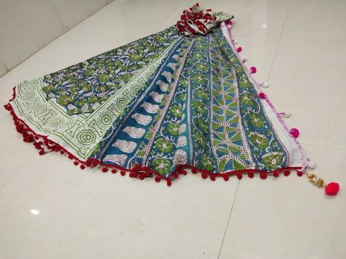 Cotton Hand Block Printed Saree with Pompom Lace, Length: 6.3 m