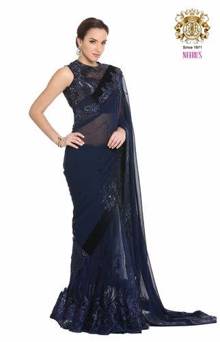 0eadf912686 Blue Cocktail Party Wear Stunning Navy Saree By Neeru  s