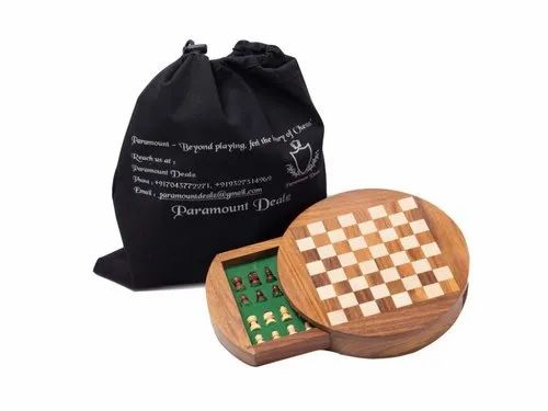 """Paramount Dealz Premium Wooden Handcrafted 7"""" Drawer Chess Set with Magnetic Pieces (7 Inches)"""