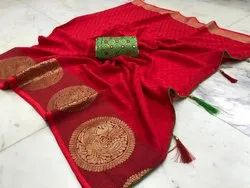 Christmas Special Red Saree With Blouse Piece