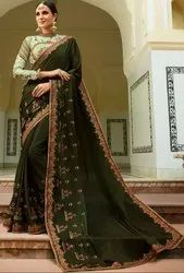 Tissue Lace Border and Print Work Mehendi Green Designer Silk Saree with Double Blouse