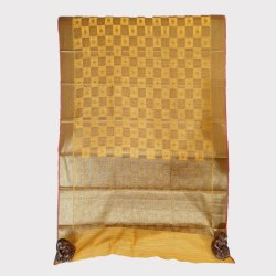 Yellow Jari Jaal Linen Saree
