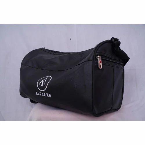 d638a3d4384 ALFAEXE Black Leather Mix Gym Bag