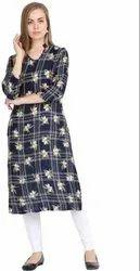 Moon Touch Fabric Ladies Blue Checked Kurti, Size: M XL XXL