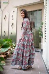 Block Printed Long Dress Gown
