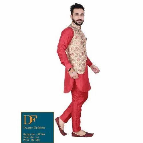 Red Indian Designer Partywear ethnic Traditional kurta pajama for men