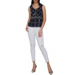 Polyester Blue Sleeveless Diagonal Pattern Sequin Top