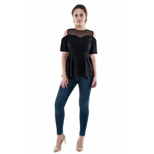 60e58570c879c Crepe Party Wear Stylish Black Cold Shoulder Top