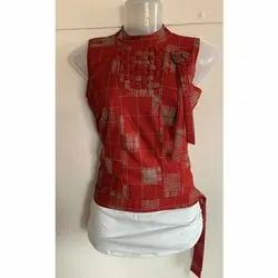 Red And White Party Wear Ladies Rayon Sleeveless Top