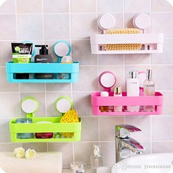 Lg Multicolor Bathroom Shelves Suction, Plastic Shelves For Bathroom