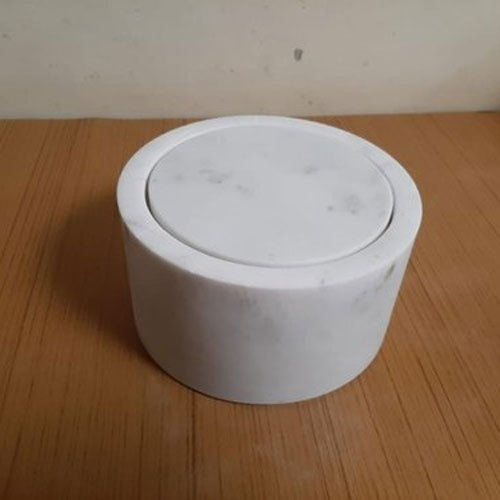 White Marble Lid Box, Shape: Round