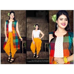 Sleeveless Rayon Ladies Crop Top with Patiala and Long Jacket