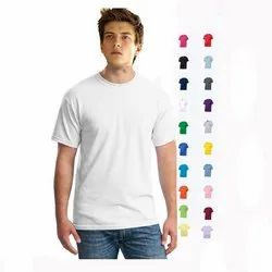 Cotton Half sleeve Mens White Round Neck T-Shirt, Size/Dimension: Large