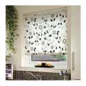White, Black Polyester Printed Window Roller Blind