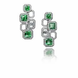 Green Stone Diamond Earrings