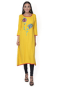 Rayon Yellow Embroidered Kurti