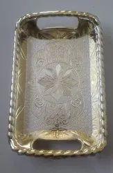 Golden Rectangular Antique Plastic Tray