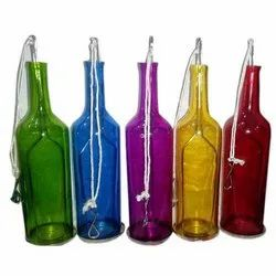 4 Inch Multicolor Colourful Hanging Glass T Light Bottle