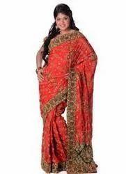 Georgette & Chiffon Wedding Wear And Bridal Wear Embroidered Wedding Saree