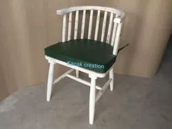 Kanak Creation Wooden Classic Chair With Green Seat Top