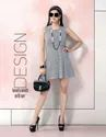 Party Wear Ladies Grey Sleeveless Printed Short Dress