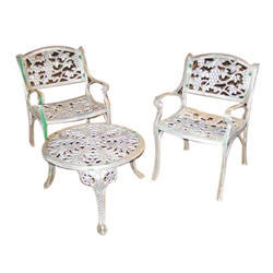 Polished Iron Chair And Table Set, for Home