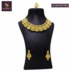 Alankeet Fashion Women Jewelry Sets Bride Wedding Party Gold Plated short Necklace Earring Set