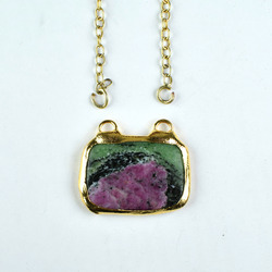 Natural Ruby Zoisite Gemstone Gold Electroplated Pendant