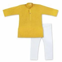 Yellow And White Cotton Boys Kurta Pyjama