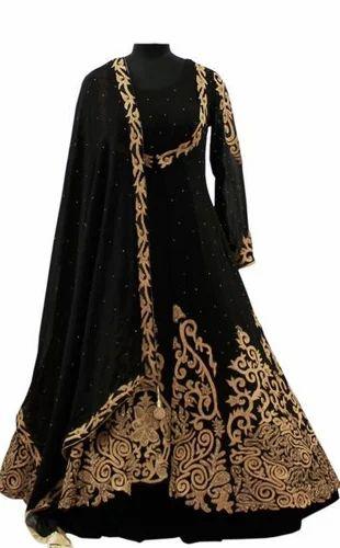 Fareenas Chanderi And Velvet Black And Golden Flare Jacket Dress Rs