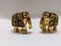 Golden Resin Elephant Statue