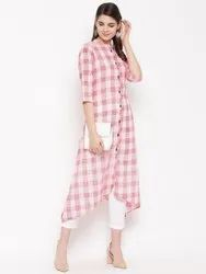 Women  Pink Checks Kurta