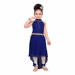 Navy Blue Adiva Girls Party Wear Dress For Kids