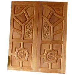 Hinged Brown Wooden Front Door