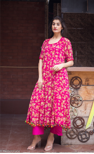 9a0a7c7f056 Georgette Floral Beautiful Kurta With Pom Pom And Pajama at Rs 3560 ...