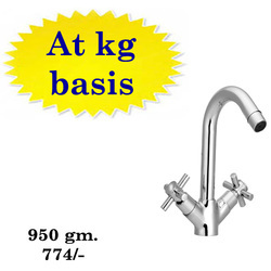 Full Brass Chrome Plated Central Hole Basin Mixer, Packaging Type: Bathroom