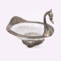 Duck Shape Oxidize Metal & Glass Single Bowl Set