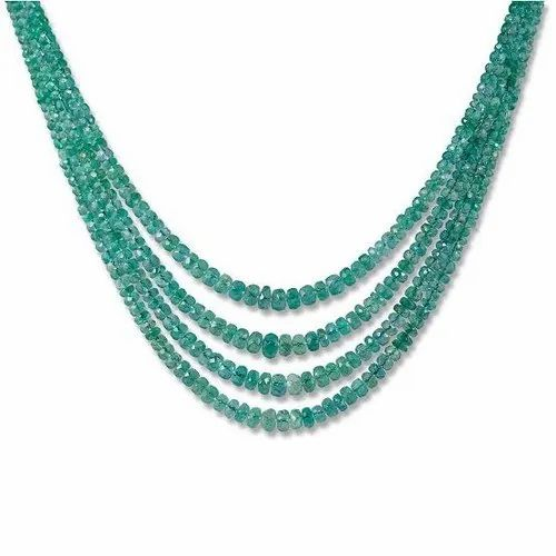 Green Party Wear Emerald Necklace For