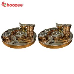 Choozee - Copper Thali Set of 2 (20 Pcs) of Thali, Bowl, Spoon, Matka Glass and Ice-Cream Cup