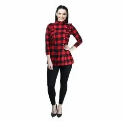 Casual 3/4th Sleeve Checked Party Wear Top