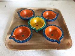 Orange Clay Diwali Diya Set