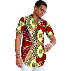 Multicolor African Wax Print Mens Cotton Shirts, GSM: 100-150