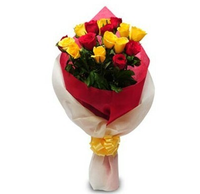 Love and Care 6 Red and 9 Yellow Roses